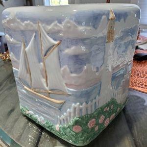 Ceramic tissue box holder